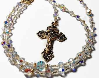 Swarovski Crystal Rosary Beads, Catholic Prayer Beads, Crystal Rosary Beads