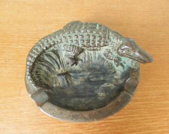 Dodge USA cast metal alligator or crocodile ashtray