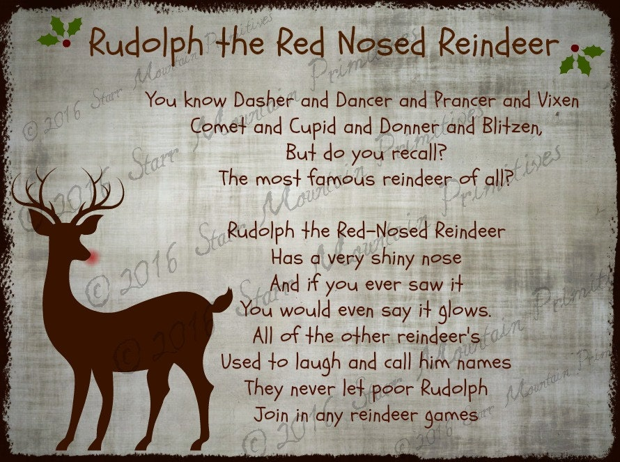 It's just a picture of Fan Words to Rudolph the Red Nosed Reindeer Printable