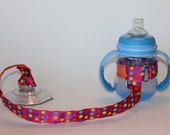 Sippy Cup Leash | Sippy Strap | Sippy Cup Strap Suction Cup | Bottle Tether | Sippy Cup Strap | Suction Sippy Strap | Pink Dotted/Orange