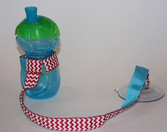 Sippy Cup Leash, Sippy Cup Strap, Baby Bottle Holder, New Baby Gift, Christmas Gift - Red Chevron