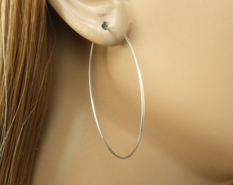 """Silver Hoop Earrings - 1-3/4"""" (44mm) Pair of Hoop Earrings - Sterling Silver Hoop Earrings - Thin Hoop Earrings"""