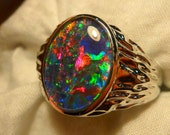 Mens Opal Ring Sterling Silver, Natural Opal Triplet. 16x12mm Oval. item 110168.
