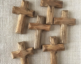 Rustic Wood Crosses, Set of 6, Beveled Edges, Small - 3 X 2 inches.  Hole for stringing.  Made in Mexico.