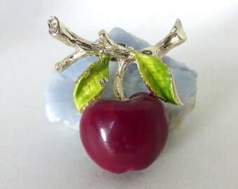 Adorable 1950's Enamel Apple on Branch Sculptural Metal Pin