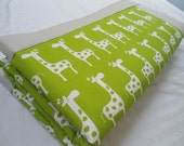 "Large Baby Play Mat Padded Floor Blanket 63"" x 63"" Green Giraffes Tummy Time Newborn Gift Idea Baby Shower Nap Mat Personalize Custom"