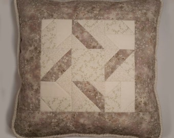 Quilted ivory patchwork pillow. 20 x 20 Ivory quilted throw pillow. Ivory, beige and lavender quilted pillow.