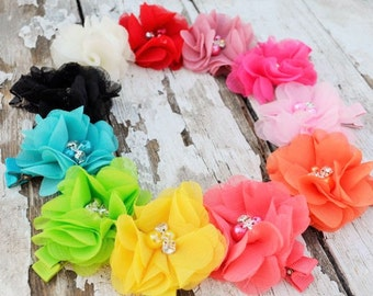 SALE- Chiffon Flower Hair Clip With Pearl Rhinestone- Boutique Hair Clips- Baby Girls Hair Accessories