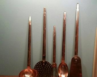 SALE - Copper Kitchen Utensil Set - Five Piece Set