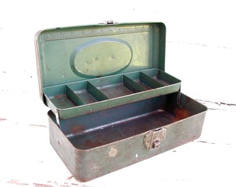 Vintage Craft Box Old Green Paint Metal Tackle - Organize Crafts - Trays Dividers Toolbox Tool Storage