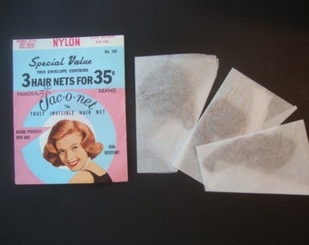 Vintage JAC-O-NET: Envelope of 3 Hair nets, old stock