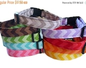 "Sale 50% Off Chevron  Dog Collar - ""Chevron""-Tone on Tone Pink, Red, Orange, Yellow, Green, Turquoise, Purple, Brown and Grey"