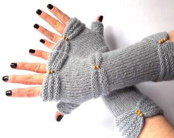 SALE - 30% OFF. Knit Fingerless Gloves. Gray Hand Knit Gloves. Knitted Wrist Warmers. Long Gray Women Gloves. Fingerless Mittens.