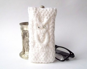 White Owl Glasses Case. Eyeglasses Case. Sunglasses Case. Eyeglasses Holder. Sunglasses Holder. Knit Glasses Case.