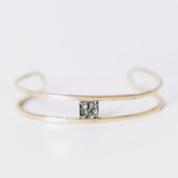 Pyrite and Brass Cuff Bracelet,  Crystal Bracelet,  Bohemian, Stacking Bracelet, Raw Crystal