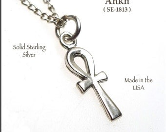 Sterling Silver Ankh Necklace, Egyptian Cross Charm, Egyptian Jewelry, .925 Sterling Ankh Jewelry - SE-1813