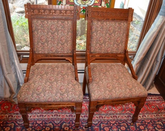 Pair Of Eastlake Antique Victorian Walnut Side Chairs, Dining Or Parlor  Chairs, Floral Upholstery