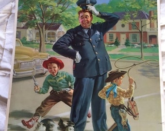FRAHM Policeman Prints 1950s Salesman Sample Calendar Print School Crossing Guard Adorable Prints dated 1953 Collection of 3