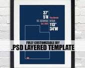 Utah Coordinate Print - Personalized DIY PSD Layered Template, Wedding or Anniversary Gift, Digital Download Map, Bridal Shower Gift