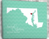 Wedding or Anniversary Map Print, Bride and Groom, Bridal Shower Gift, Guest Book, Custom Color, Personalized Gift, Any State or Country