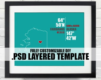 Alaska Coordinate Print - Personalized DIY PSD Layered Template, Wedding or Anniversary Gift, Digital Download Map, Bridal Shower Gift Ideas