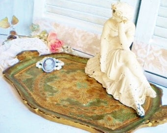 Italian Florentine Tray Decorative Tray With Handles Large For Vanity Home Decor Vintage Ottomen Boho Emerald Green And Gold Gift For Her