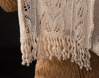 "Knit Lace Scarf for women in Tussah Silk with lacey leaves and crocheted tassels, natural colour undyed ""Saturna Island - READY TO SHIP"