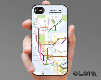 New York City Metro Map Case for iPhone 6/6S, 6+/6S+, 5/5S, 5C, 4/4S, iPod Gen 5, Samsung Galaxy S6, Galaxy S5, Galaxy S4, Galaxy S3