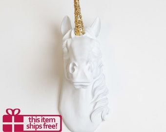 FREE SHIPPING! The Bayer Unicorn Head, White With Gold Glitter Horn by White Faux Taxidermy, Faux Taxidermy Unicorn Mounted Head