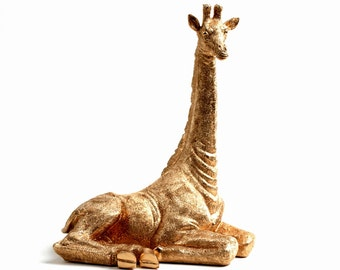 Le Petite Giraffe - Gold Sitting Giraffe Figurine - Animal Statue - Faux Taxidermy - Lap Giraffe