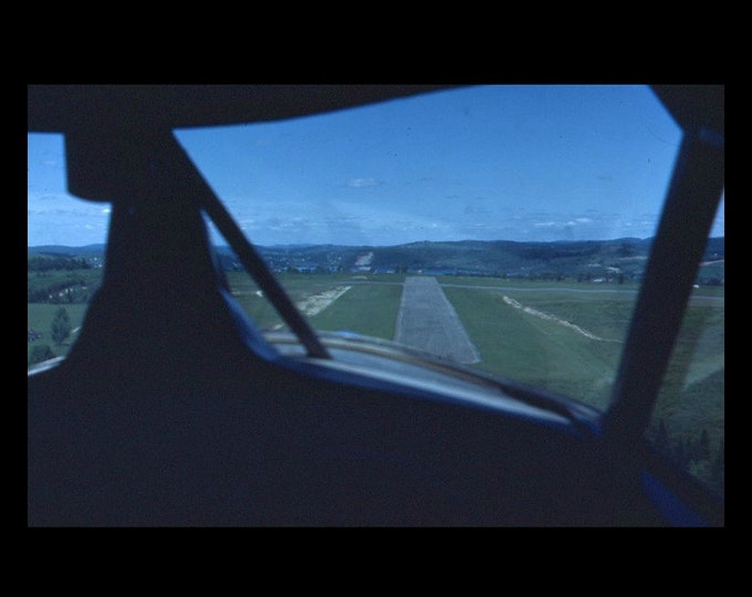 35 mm Slide/Transparency, Red Border Kodachrome: Cockpit View of Landing Strip (51216-9)