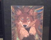 Dream time Wolf  Hand signed by artist print ready to hang framed art print 16x20