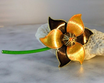 Brown and Gold Flower Brooch   Flower Pin    Fall Color