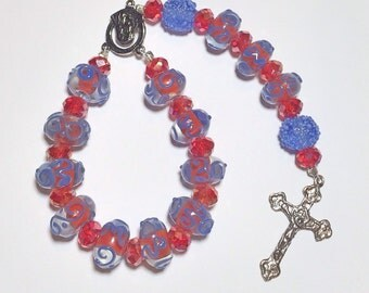 Mini Handmade Single Decade Rosary Chaplet - Red and Blue Swirl Lampwork, Blue Sugar Beads, Red Crystals & Silver Accents