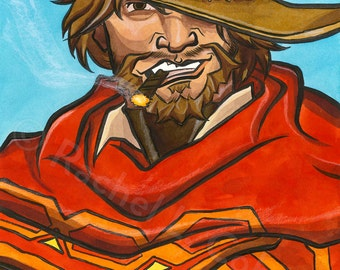 Overwatch Jesse McCree Print of Original Illustration 12x18