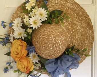 Summer Straw Hat, Wreath Alternative, Front Door Decor, Spring Wreath, Housewarming Gift, Mother's Day Gift