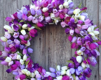 Purple Tulip Wreath, Purple, Lavender, White, Summer Wreath, Spring Wreath, Outdoor Wreath, Mother's Day
