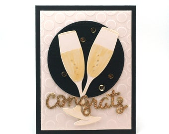 Champagne flutes congratulations card, wedding congrats celebrate blank card,