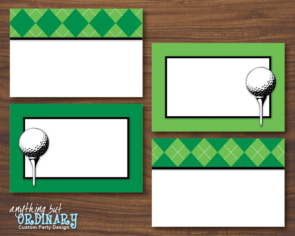 golf party buffet cards editable partee printable food