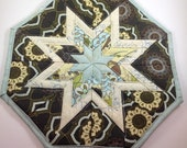 Dark Brown and Cream Star Hot Pad