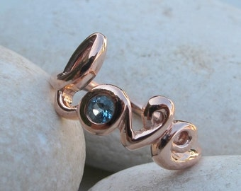 SALE Silver Love Ring- Topaz Ring- Blue Topaz Ring- Gemstone Ring- Bestfriend Ring- Stone Ring- Word Love Ring- December Birthstone Ring- Ri