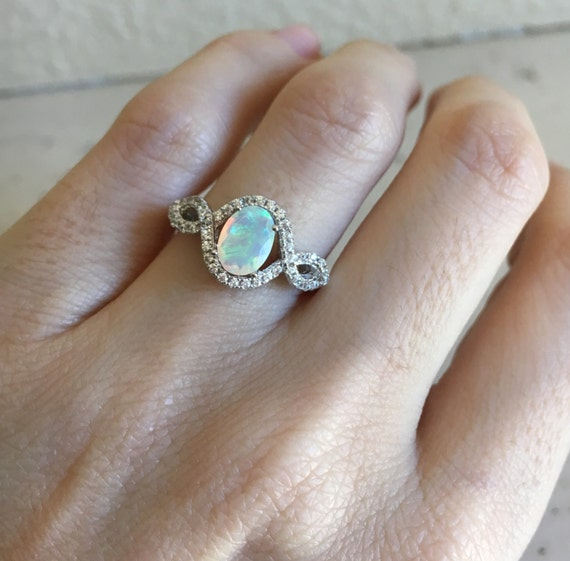 Natural Opal Ring Promise Ring Wedding Ring Art Deco Ring