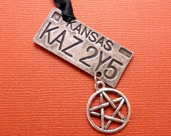 Supernatural Inspired - KAZ 2YF License plate w/ Pentagram charm - Ornament - READY to SHIP