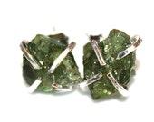 Raw Apatite Stud Earrings Organic Earring Green Apatite Jewelry Hammer Cut Earring Apatite Earrings Apatite Prong Set Earrings Raw Gemstones