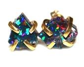 Australian Black Opal Lightning Ridge Opal Earring Raw Opal Stud Earring Organic Earring Tumbled Opal Jewelry Free Form Earring Natural Opal