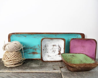Turquoise Tray with Tiny Bowls - Modern Shabby Chic - Bright New Upcycled Decor