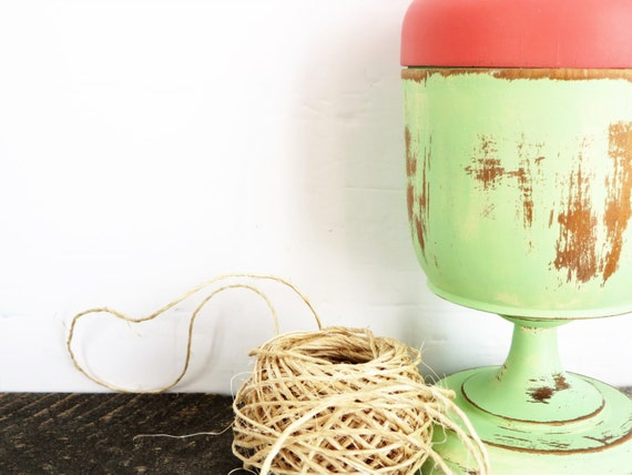 Modern Rustic Home Decor Mint Green Coral Container Flea