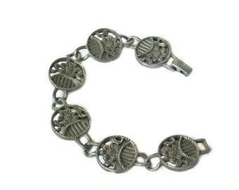 Vintage Sarah Coventry Garland Bracelet  Pewter Tone Floral