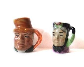 Two Vintage Artone England Miniature Character Jug Jar Mug Pitcher