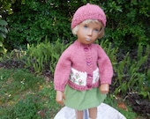 "Hand knitted, rose colored sweater with beanie and skirt for 16"" Sasha doll."